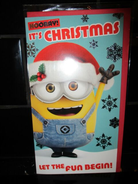 ad9f823bbec28 DISNEY MINIONS CHRISTMAS CARD DESPICABLE ME HOORAY IT S CHRISTMAS NEW