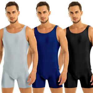 Da-Uomo-Un-Pezzo-Senza-Maniche-Canottiera-Canotta-Calzamaglia-Allenamento-Body-Elasticizzato-Danza
