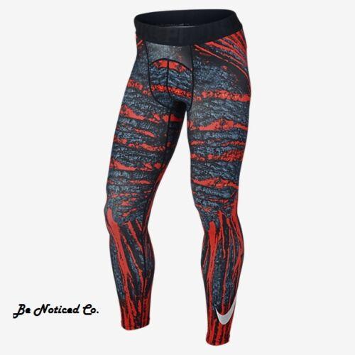 Nike Pro Cool Amp Mens Tights M Black Orange Gray Multi Gym Training Running New