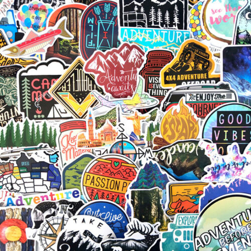 65Pcs Hiking Travel Stickers Adventure Outdoor Landscape Waterproof PVC DecaNAha