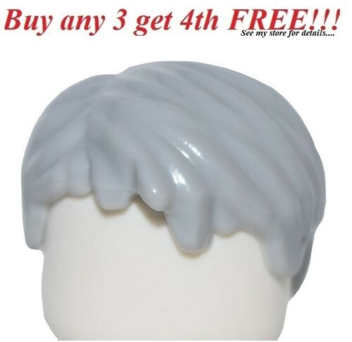 ☀️NEW Lego Minifig Hair Male Boy Light Bluish Gray Tousled w// Side Part