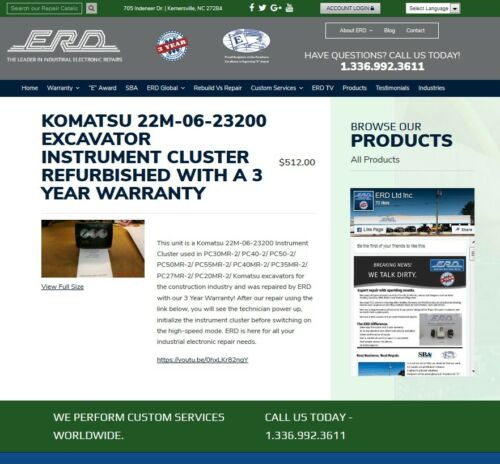 KOMATSU 22m-06-23200 Repair Evaluation Only! With 3-Year Warranty