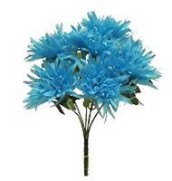 36 Fuji Mums Turquoise Blue Silk Flowers Bush Wedding Bouquet Party Centerpieces