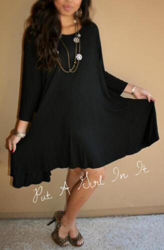 PLUS SIZE LITTLE BLACK BOHO BABYDOLL 3//4 SLEEVE FULL SKIRT MINI DRESS 1X 2X 3X