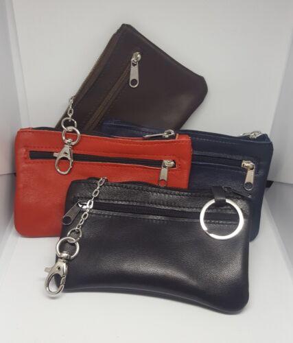 portachiavi nappola doppio tasca zip vera pelle nero rosso cerniera portamonete