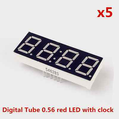 5pcs Common Anode 4bit Digital Tube 0.56 Red LED with Clock