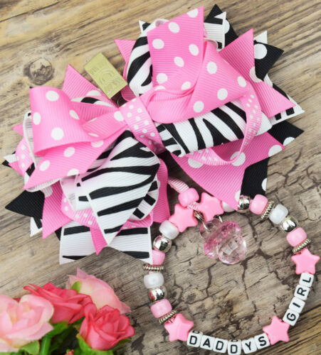 Personalised Beautiful Zebra Print pram charm in baby pink for baby girls pram