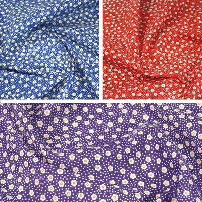 Polycotton Fabric Flower Heads and Spots Daisy Daisies Floral