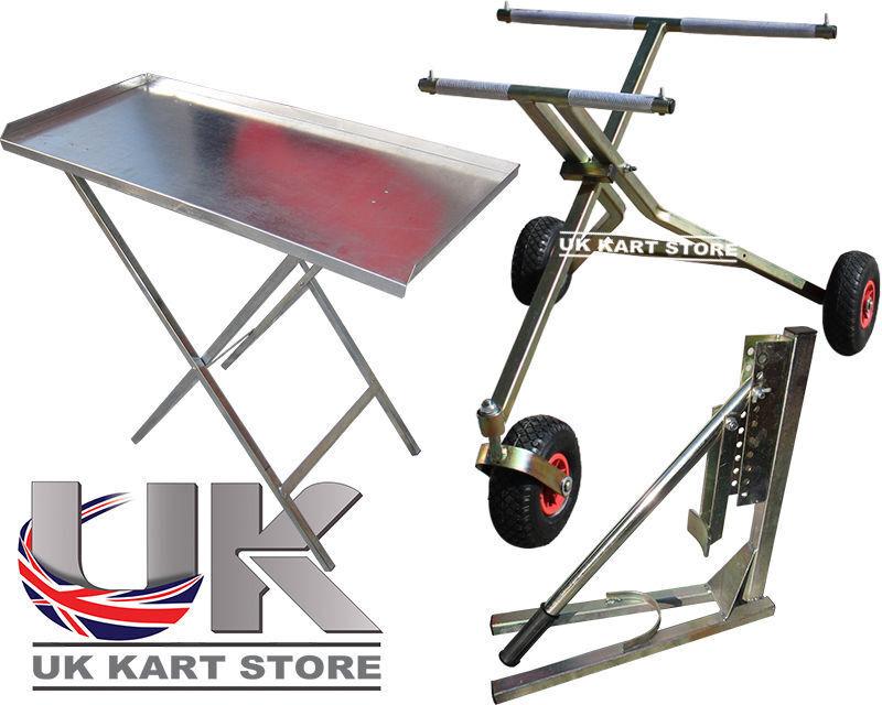 3 Wheel Scissor Go Kart Trolley Fold Up Work Table Bead Breaker