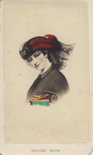 HAND COLORED CDV PORTRAIT OF WOMAN IN FLAMBOYANT CLOTHING