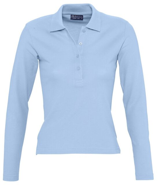 Sol s Ladies Podium Long Sleeve 100 Cotton Polo Shirt Womens Plain ... 915df1ee15