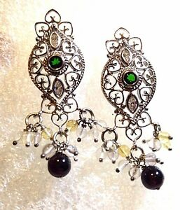 Vintage-Genuine-Clear-Quartz-real-Chrome-Diopside-925-Sterling-Silver-Earrings