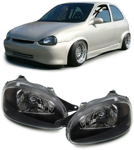 Verre Transparent Phares Noir-E pour Opel Corsa B 93-00