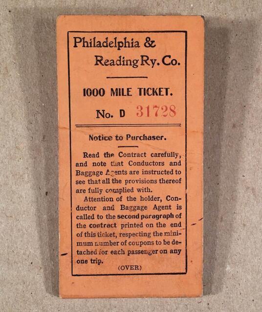 Rare 1913 PHILADELPHIA & READING RAILROAD RY CO 1000 Mile Ticket, used to 377 mi