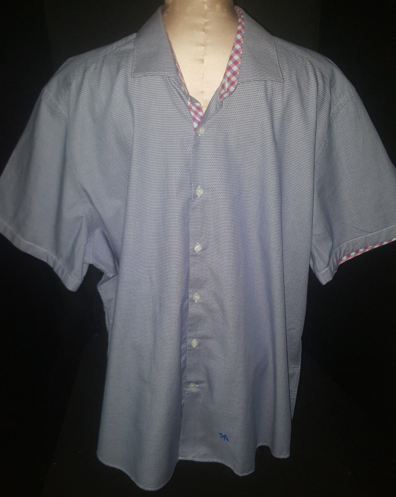 STONE pink Mens Short Sleeve Button Front Shirt Size 7 XL bluee Cotton