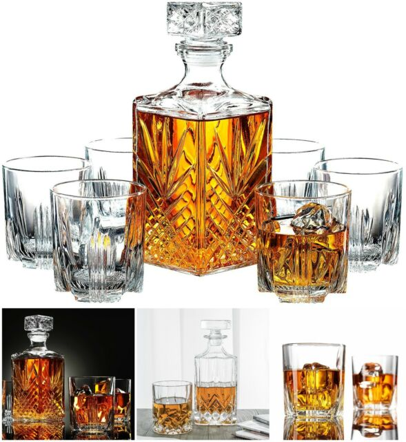 Whiskey Gles Set Of 7 Crystal Drinking Scotch Liquor Gl Bar Cups Decanter