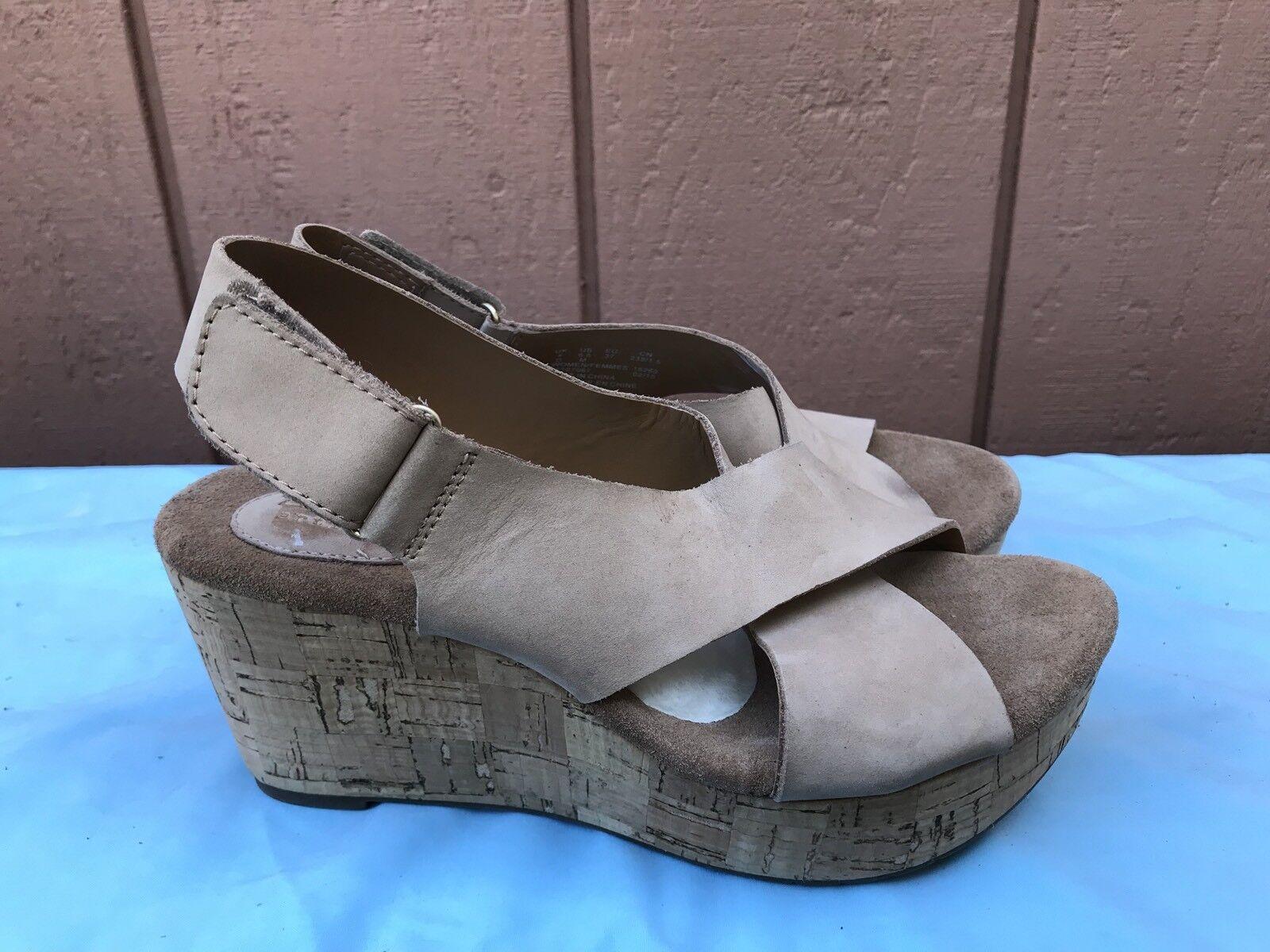 Nuevo Mujeres Clarks Artisan Caslynn Shae 6.5M Zapato Sandalia de cuña luz Tan Nubuck A6