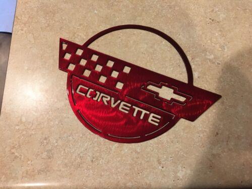 Plasma cut Kandy Red Corvette circle metal man cave sign garage art  Chevrolet