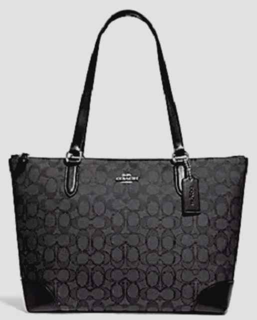 New Coach 29958 Outline Signature Zip Tote Jacquard / Leather trim Smoke Black