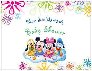 Image Is Loading 20 Mickey Minnie Donald Disney Baby Shower Invitations