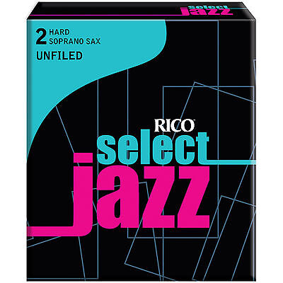 1 Box of 10 Rico Select Jazz Reeds Soprano Sax (RRS10SSX2H) 2-Hard (2H) Unfiled.
