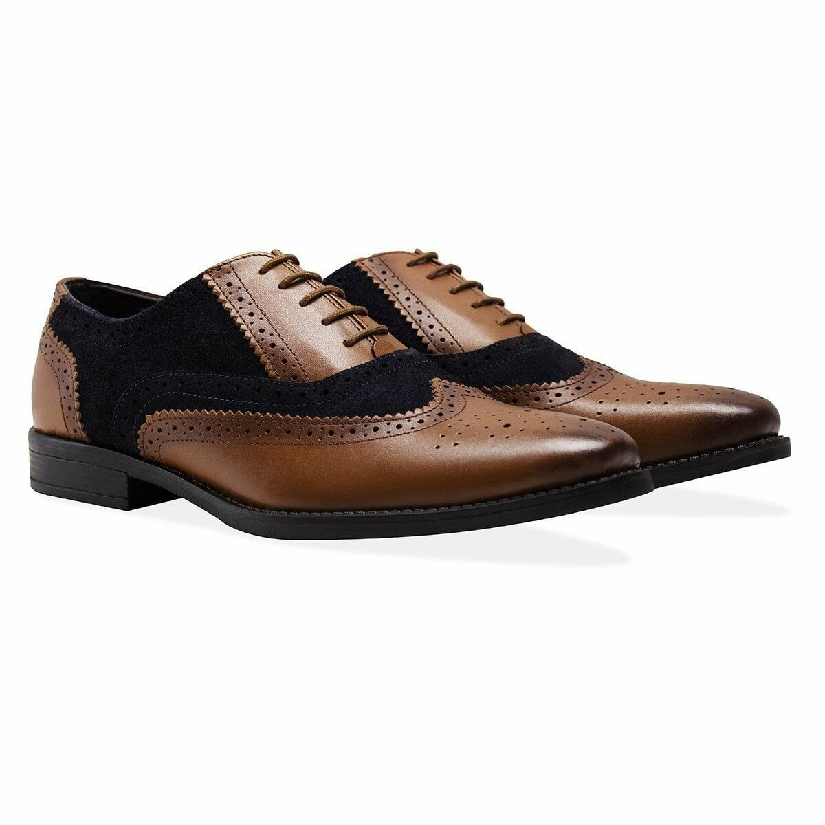 Redfoot Mens Gatsby Leather & Suede Navy Tan Brogues Smart Formal Wedding shoes