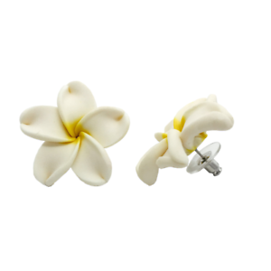Details About Hawaiian Jewelry White Plumeria Flower Fimo Polymer Clay Stud Earrings