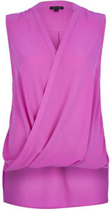 Womens-Ladies-New-Plain-R-I-Sleeveless-Drape-Wrap-Shirt-Top-Blouse-COLOURS-6-18
