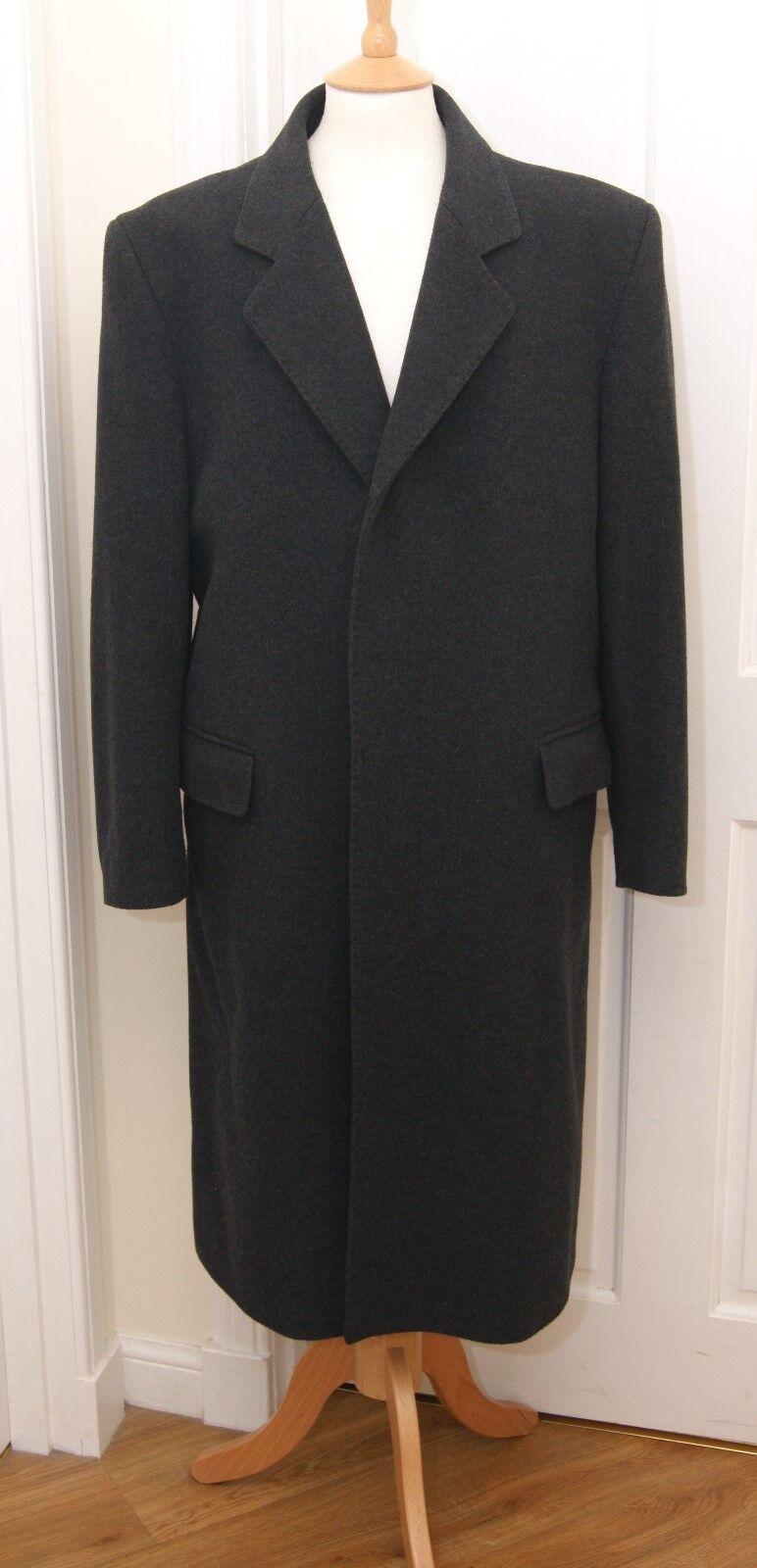 Brook Taverner grey wool cashmere single breasted overcoat coat 38  97cm reg.