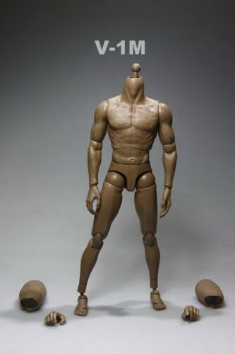 1//6 Strong Muscle Dark Brown Skin Male Body 12/'/' Man Figure Toy Changeable Hands