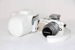White-leather-case-bag-for-Olympus-E-PL8-EPL8-camera-14-42mm-lens-black-white
