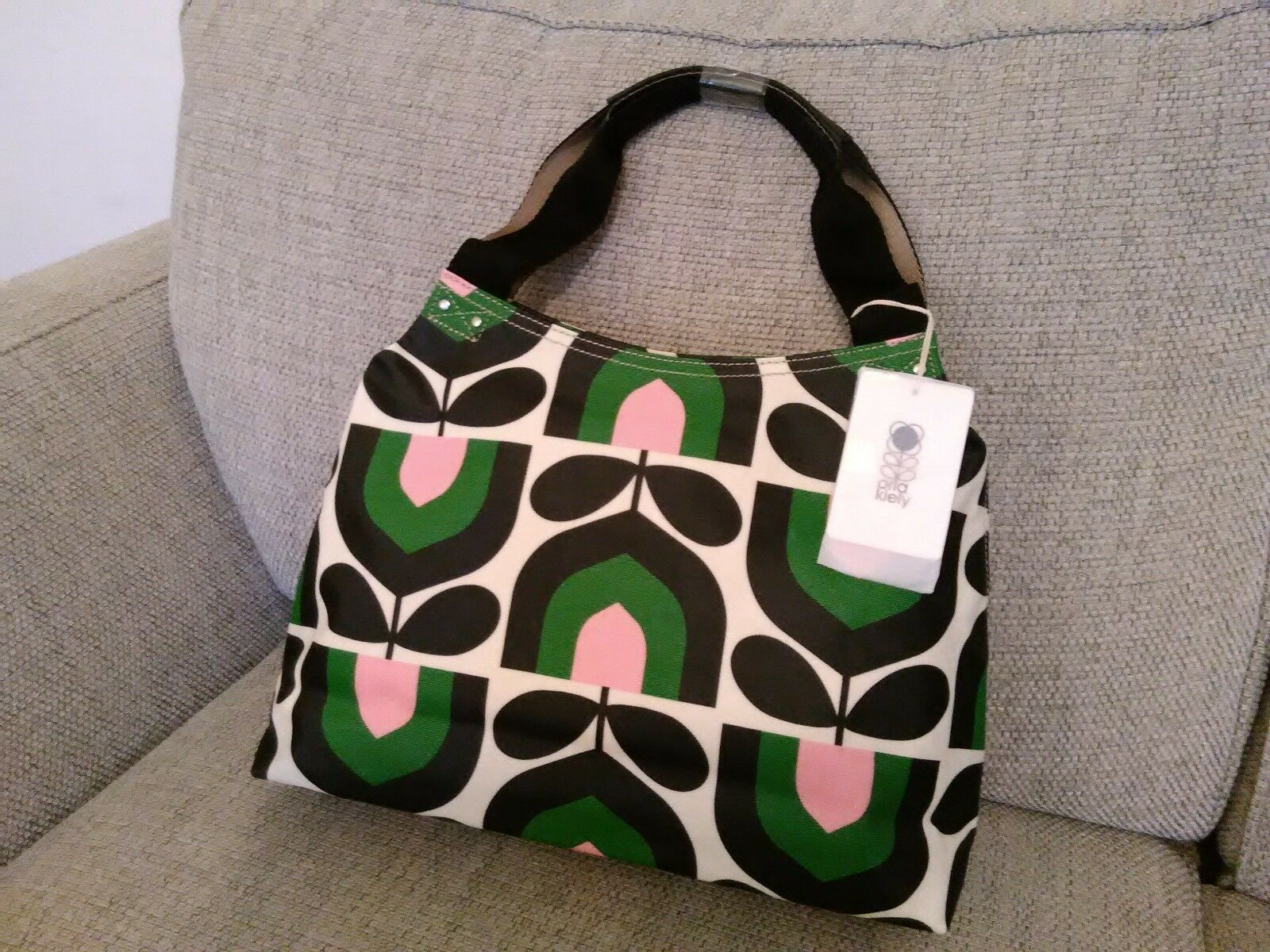 7b7db111ca Orla Kiely Womens Matt Laminated Stripe Tulip Print Zip Shoulder Bag Spring
