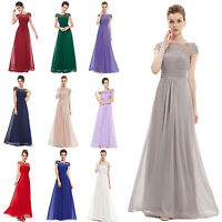 New Womens Bridesmaids Lace Cap Sleeve Long Maxi Evening Formal Party Dress Gown
