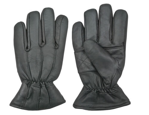 UK Mens New Black Real Leather Arm Warmers Winter Gloves Fashion Dress Mittens
