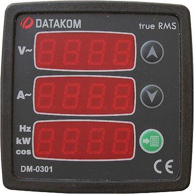 DATAKOM DM-0301, Single-Phase Digital Multimeter Panel, 75-150V power supply