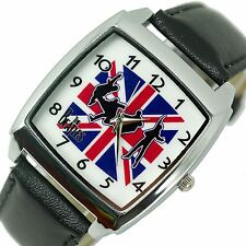 UNION JACK UK FLAG THE BEATLES LEATHER MUSIC LEGENDS SQUARE Steel GIFT WATCH E4