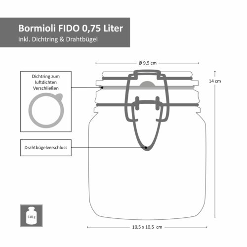 1,5L Vorratsgläser Aufbewahrung Glas Set Fido Einmachgläser 0,75L 1,0L 3tlg