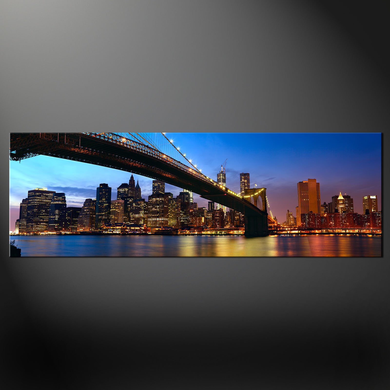 BROOKLYN BRIDGE SKYLINE NIGHT MODERN CANVAS PRINT WALL ART PICTURE READY TO HANG