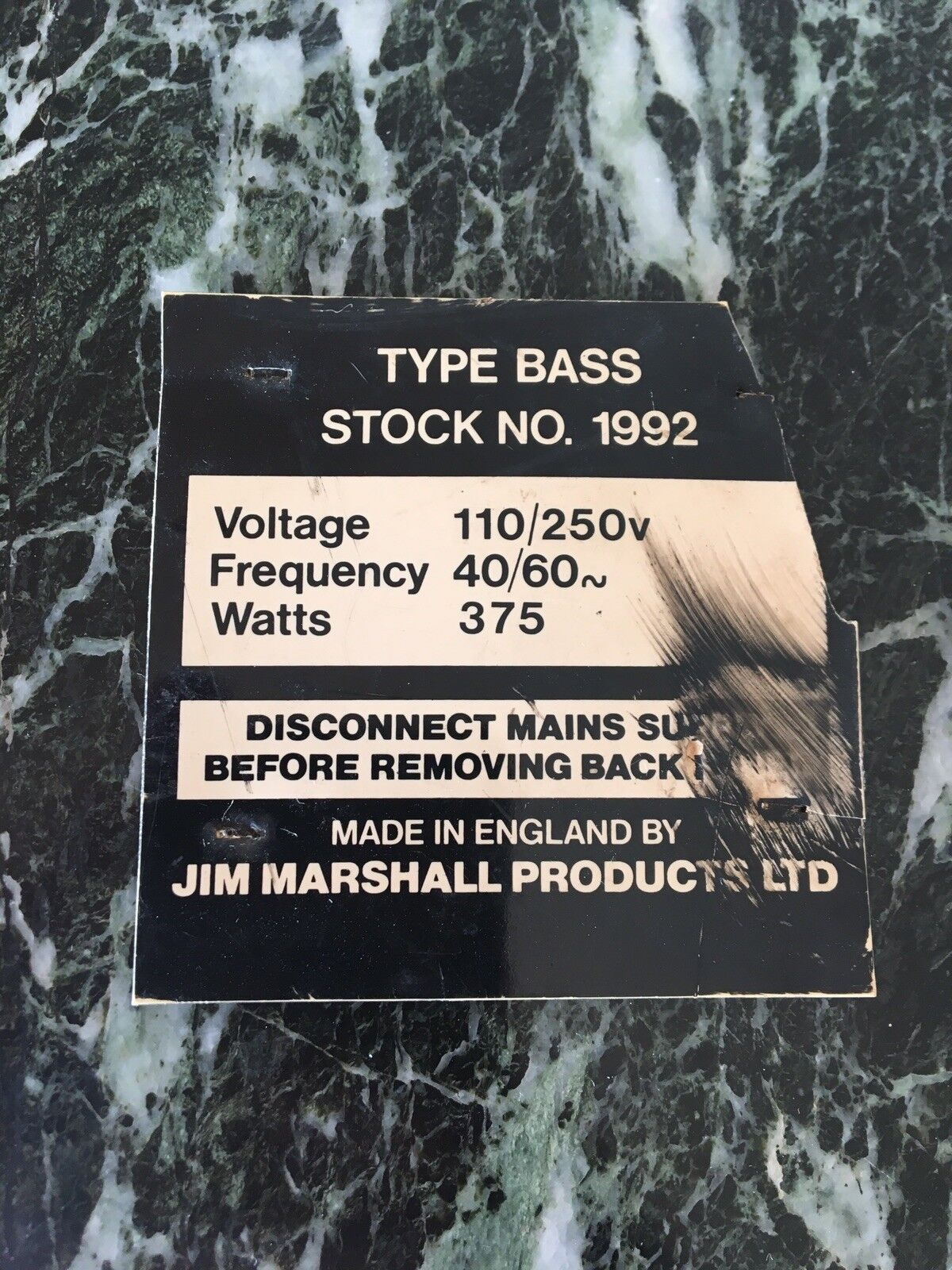 1968 1969 1970 1971 1972 1973 Marshall Super Bass no Lead  Amp Plate Badge Rare
