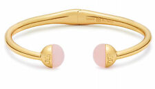 Auth New Tory Burch Logo Bead Hinged Bracelet Rose Quartz Semi-precious Stone