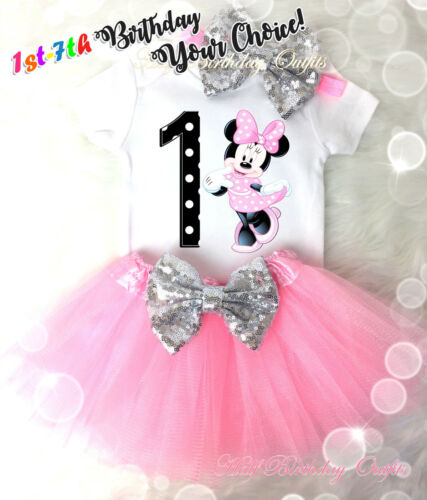7th Birthday Girl Tutu Outfit Light Pink Minnie Mouse Silver Headband First 1st