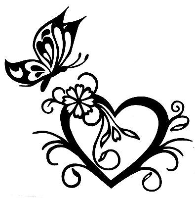 BUTTERFLY WITH HEART STICKER DECAL BRAND NEW FOR CAR,4X4, LAPTOP,TRAILER