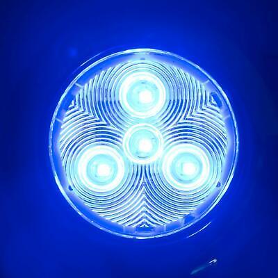 "Amarine-made 4LED 3/"" Blue Stainless Steel Housing Round LED Courtesy Puck Light"