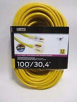 Free Ship, Cerrowire 100 Ft. 12/3 Stayplug Extension Cord - Yellow