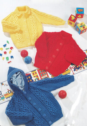 """Knitting PATTERN Childs Aran Cardigans /& hooded jacket-fits chest 20-26/"""" chest"""