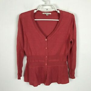 CAbi-Cardigan-Sweater-Size-Small-Dark-Pink-Orange-Silk-Blend-Knit-Top-Style-900