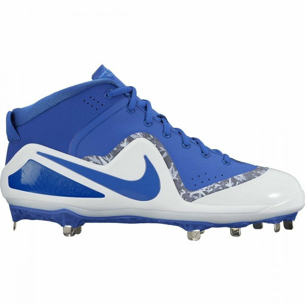 NIKE FORCE ZOOM TROUT 4 METAL BASEBALL CLEATS blueE AND WHITE SIZE 11.5