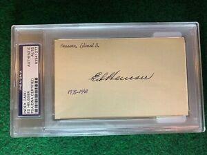 Ed-Heusser-PSA-Autograph-3x5-Index-Card-Slabbed-83941277-TOUGH-HTF-DEC-1956
