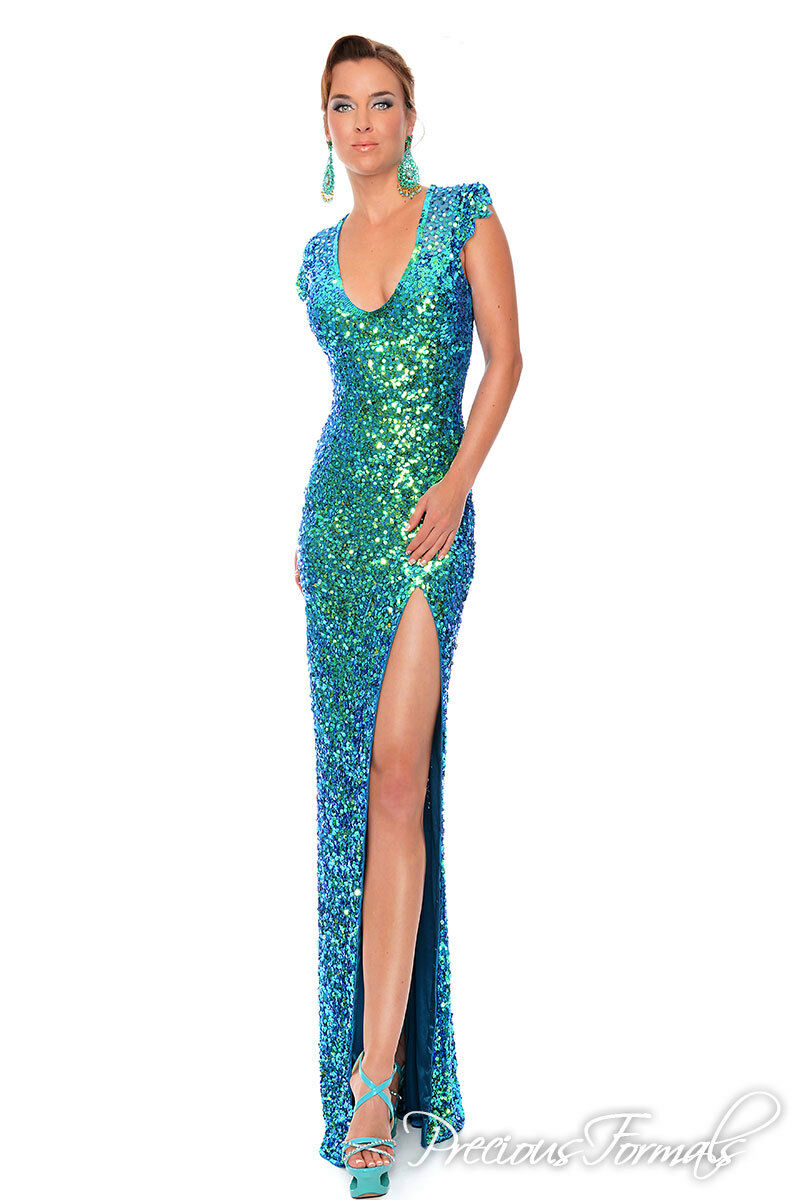 Precious Formals Formals Formals Prom Dress P9057 Crystal bluee Green Size 6 NWT a4b562
