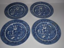 "4 Staffordshire ""Ye Olde Willow"" Blue Willow  9"" Dinner Plates"